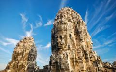 The ancient Bayon Temple at Angkor Wat.