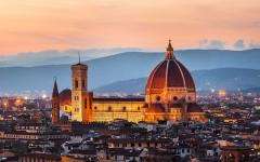 The Cathedral of Santa Maria del Fiore in Florence at sunset.