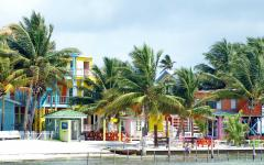 Pastel buildings on the beaches of Caye Caulker.