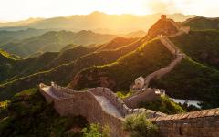 The Great Wall of China during sunset.