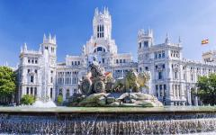 spain madrid the cibeles white building and fountain