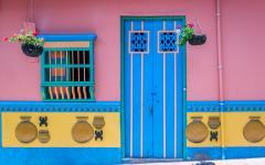 A brightly-colored door in Medellin.
