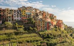 Corniglia is located in the middle of Cinque Terre, Italy.