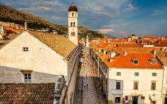 A cobbled street in Dubrovnik, Croatia.