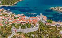 Medieval town Mali Ston in Dubrovnik area at the one end of the world known Ston walls