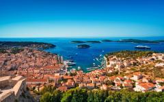 An aerial view of Hvar town, Hvar Island, Croatia.