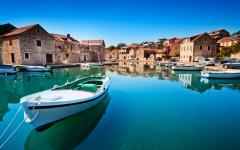 Old harbor in Hvar, Croatia.