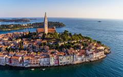 The old town of Rovinj, Croatia, from the air.