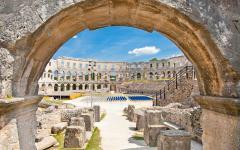 The interior view of Pula's amphitheatre in Croatia.