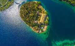 Aerial view of island Mljet, Dubrovnik.