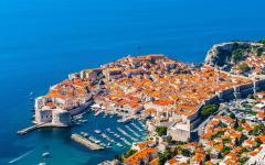 Aerial view of Dubrovnik, historic port in Croatia.
