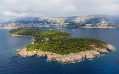 An aerial view of Lokrum island along the Adriatic coast, close to Dubrovnik, Croatia.