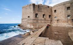 Medieval walls of the town of Dubrovnik located on the Adriatic Croatian coast.