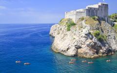 Kayaking on the Adriatic sea close to Dubrovnik, Croatia.