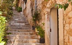 A narrow, old street in Dubrovnik, Croatia.