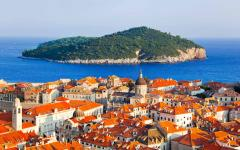 Aerial view of Dubrovnik old town and the Lokrum Island