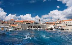 A view of the old port in Dubrovnik in Croatia.