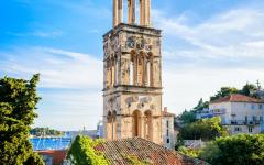 The church bell tower in Hvar, Croatia.