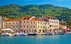 Across the water towards Stari Grad, a town on the island of Hvar, Croatia.