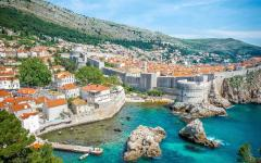 View of Dubrovnik city along the Adriatic coast in Croatia.