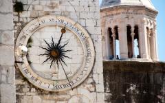 The ancient clock tower in Split, Croatia.