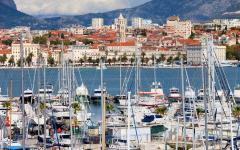 Boats and view of Split in Croatia.