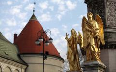 Golden angel statues in Zagreb, Croatia.