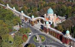 An aerial view of The Mirogoj Cemetery in Zagreb, Croatia.