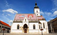 St Mark's church with the colorful coat of arms of Zagreb on the roof