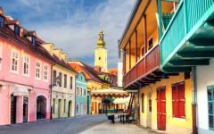 A colorful street in Zagreb, Croatia.