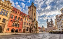 Old Town Square at sunrise in Prague.