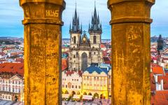Looking onto the Old Town Square through the Tyn church in Prague.