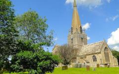 St. Mary's Church, Bampton Village - where Lady Mary and Matthew Crawley were married.