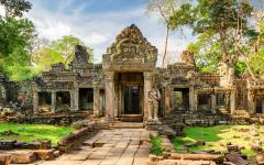 Entrance to Preah Khan Temple in Siem Reap, Cambodia.