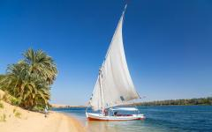 A traditional Felucca on the shore of the Nile.