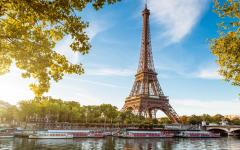 A view of the Eiffel Tower in Paris.