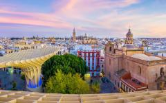 spain seville city view of the old town center and the cathedral
