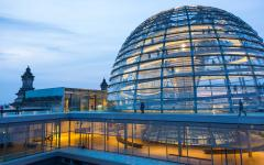 illuminated glass dome of the reichstag in Berlin