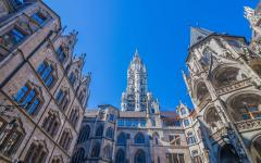 looking up at the gothic Munich town hall building