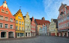 colorful medieval gothic houses in Munich