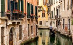 A gondola on a Venice canal, Italy.