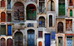 Collage of weathered doors in Chania, Crete, Greece