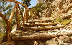 Upward view of hiking-stairs in the famous Samaria Gorge on Crete Island in Greece