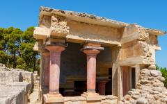 Close up of the ruins of the Knossos Palace in Crete, Greece