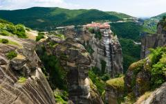 Cliff view of the Meteora pillars and monasteries