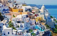 View of the predominantly white architecture of Fira, Santorini, Greece