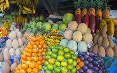 Colorful mix of tropical and organic fruit for sale at a market