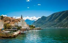 Perast harbor in Kotor bay, Montenegro.