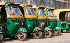 A group of auto rickshaws or taxis in Agra India