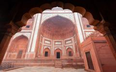 The Great Gate at the Taj Mahal located in Agra India